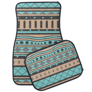 Turquoise And Peach Aztec Pattern Car Floor Carpet