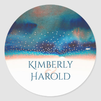 Turquoise and Peach Starry Modern Watercolor Round Sticker