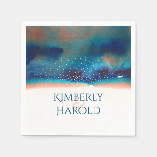 Turquoise and Peach Watercolor Glam Modern Wedding Paper Napkins