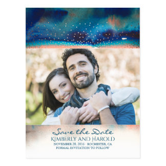 Turquoise and Peach Watercolor Photo Save the Date Postcard