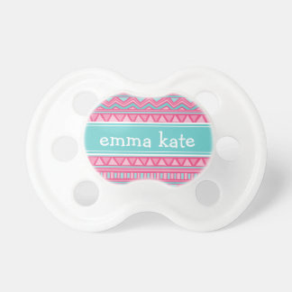 Turquoise and Pink Aztec Chevron Custom Monogram Pacifier