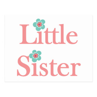 turquoise and pink flower little sister postcard