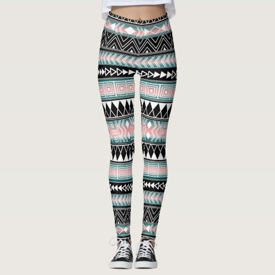 Turquoise and Pink Geometric pattern Chevron Leggings