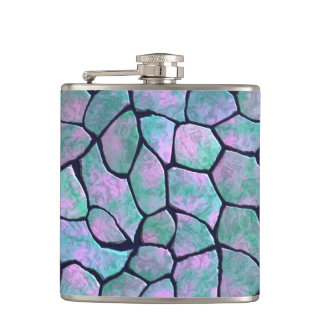Turquoise and pink mosaic stones seamless pattern hip flask
