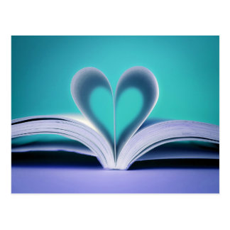 Turquoise and Purple Book Heart photograph Postcard