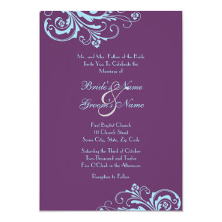 Turquoise and Purple Chic Wedding Invitation