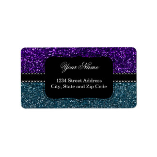 Turquoise and Purple Glitter Sparkles Label