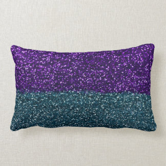 Turquoise and Purple Glitter Sparkles Lumbar Pillow