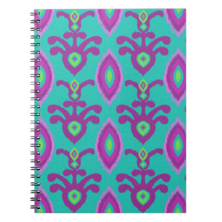 Turquoise and Purple Ikat Design Notebook