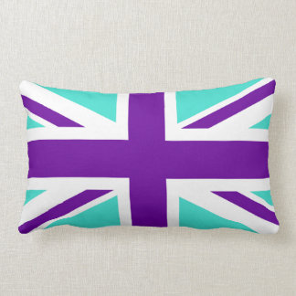 Turquoise and Purple Union Jack Lumbar Pillow