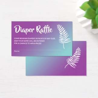 Turquoise and Raspberry Ombre Diaper Raffle Cards