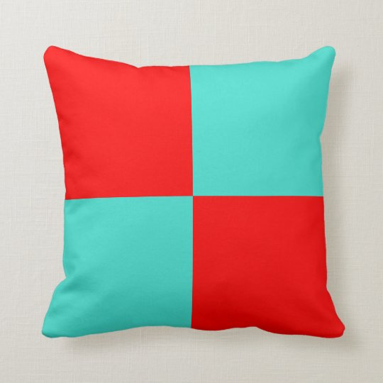 Turquoise and Red Large Chequerboard Throw Pillow