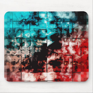 Turquoise And Red Mosaic Tiling Mouse Pad