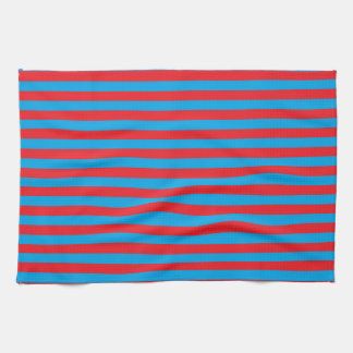 Turquoise and Red Stripes Kitchen Towel