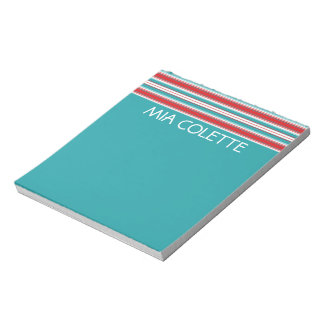 Turquoise and Red Stripes Personalized Notepad