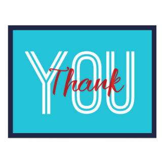 Turquoise and Red Thank You Postcard
