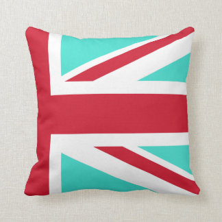 Turquoise and Red Union Jack Half Throw Pillow