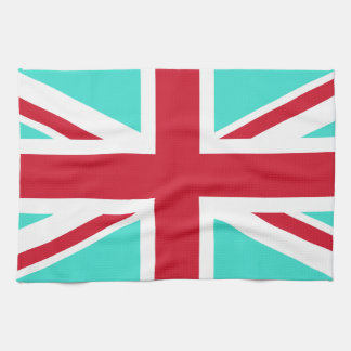 Turquoise and Red Union Jack Kitchen Towel