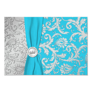"""Turquoise and Silver Damask Quinceanera RSVP Card 3.5"""" X 5"""" Invitation Card"""