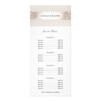 Turquoise and Silver Sequin Price List Menu Rack Card