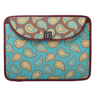 turquoise and taupe paisley pattern sleeve for MacBook pro