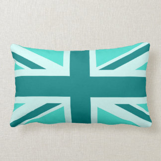 Turquoise and Teal Union Jack 2 Lumbar Pillow