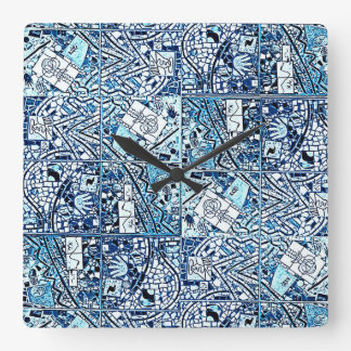 TURQUOISE AND WHITE ABSTRACT CLOCK