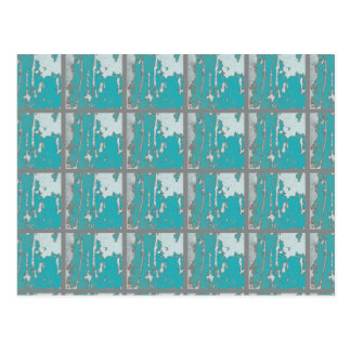 Turquoise and White Abstract Postcard