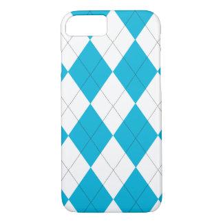 Turquoise and White Argyle iPhone 7 Case