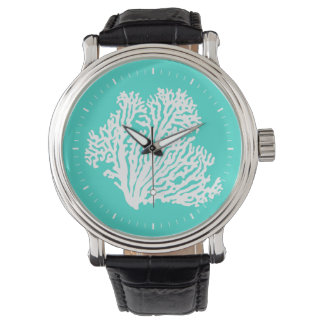 Turquoise And White Coastal Coral Wristwatch