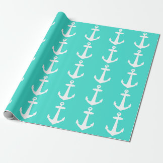 Turquoise And White Coastal Decor Anchor Wrapping Paper
