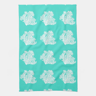 Turquoise And White Coastal Decor Coral Kitchen Towel