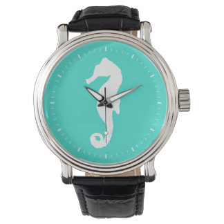 Turquoise And White Coastal Seahorse Wrist Watch