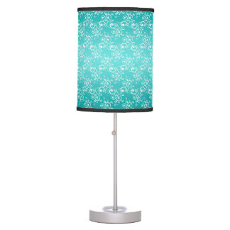 Turquoise and White Curlie Cue Pattern Table Lamp