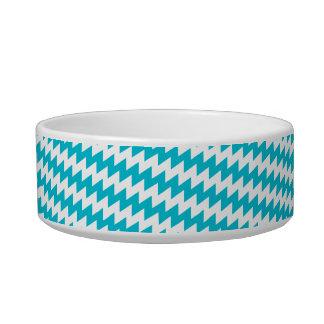 Turquoise and white diagonal chevron bowl