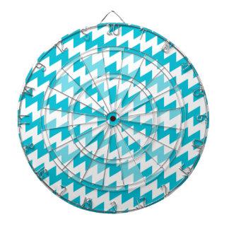 Turquoise and white diagonal chevron dartboard