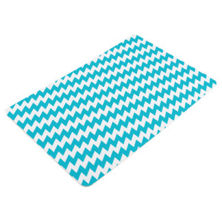 Turquoise and white diagonal chevron floor mat
