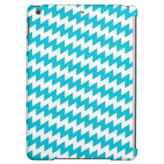 Turquoise and white diagonal chevron iPad air cases