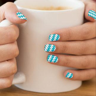 Turquoise and white diagonal chevron minx nail art