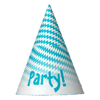 Turquoise and white diagonal chevron party hat