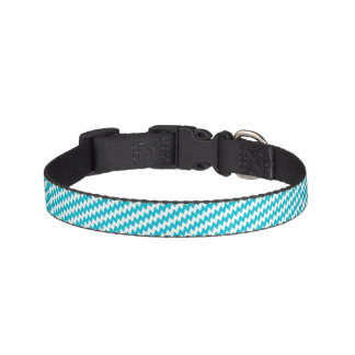 Turquoise and white diagonal chevron pet collar