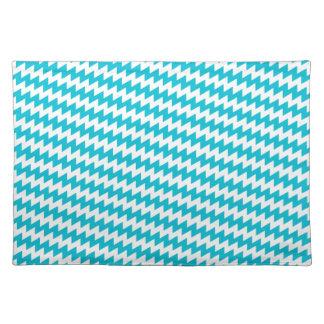 Turquoise and white diagonal chevron placemat