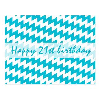 Turquoise and white diagonal chevron postcard