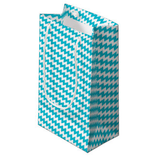 Turquoise and white diagonal chevron small gift bag