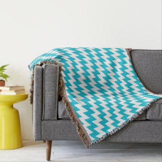 Turquoise and white diagonal chevron throw blanket