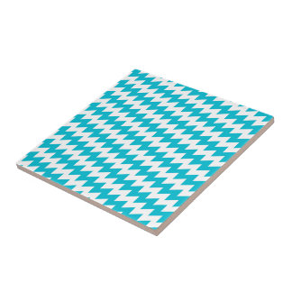 Turquoise and white diagonal chevron tile