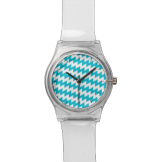 Turquoise and white diagonal chevron watch