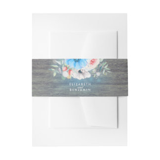 Turquoise and White Floral Elegant Rustic Wedding Invitation Belly Band