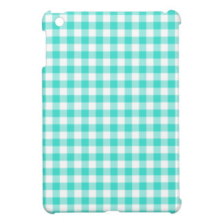 Turquoise and White Gingham Checks Pattern iPad Mini Case