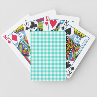 Turquoise and White Gingham Checks Pattern Poker Deck